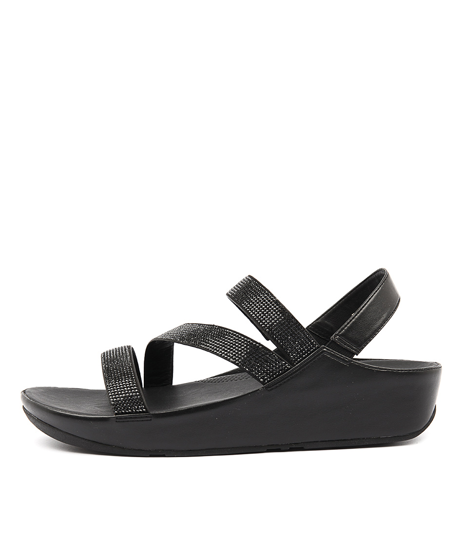 2390af064 CRYSTALL Z STRAP SANDAL BLACK LEATHER by FITFLOP - at Styletread